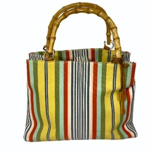 Fossil stripe Canvas Tote Bamboo Handle